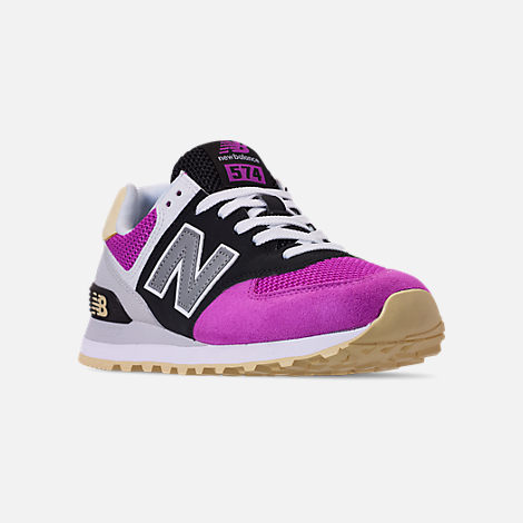 Three Quarter view of Women's New Balance 574 Casual Shoes in Purple/Black