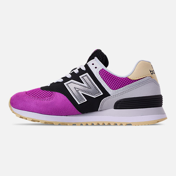 Left view of Women's New Balance 574 Casual Shoes in Purple/Black