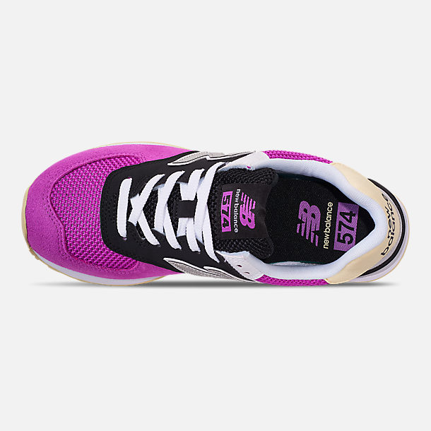 Top view of Women's New Balance 574 Casual Shoes in Purple/Black