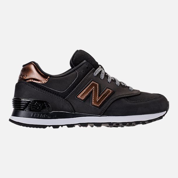 Right view of Women's New Balance 574 Varsity Sport Casual Shoes in Black/Metallic Bronze