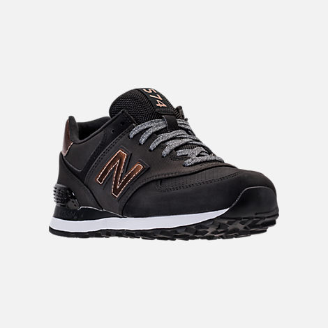 Three Quarter view of Women's New Balance 574 Varsity Sport Casual Shoes in Black/Metallic Bronze