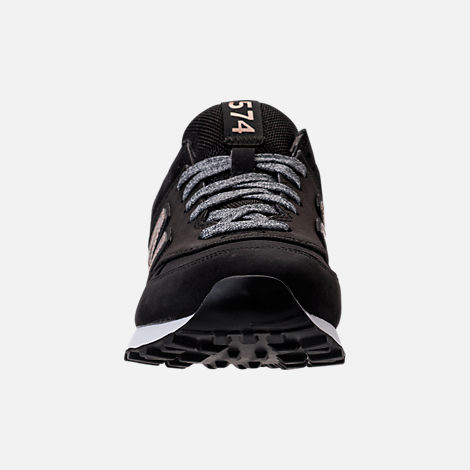 Front view of Women's New Balance 574 Varsity Sport Casual Shoes in Black/Metallic Bronze