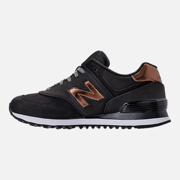 Left view of Women's New Balance 574 Varsity Sport Casual Shoes in Black/Metallic Bronze
