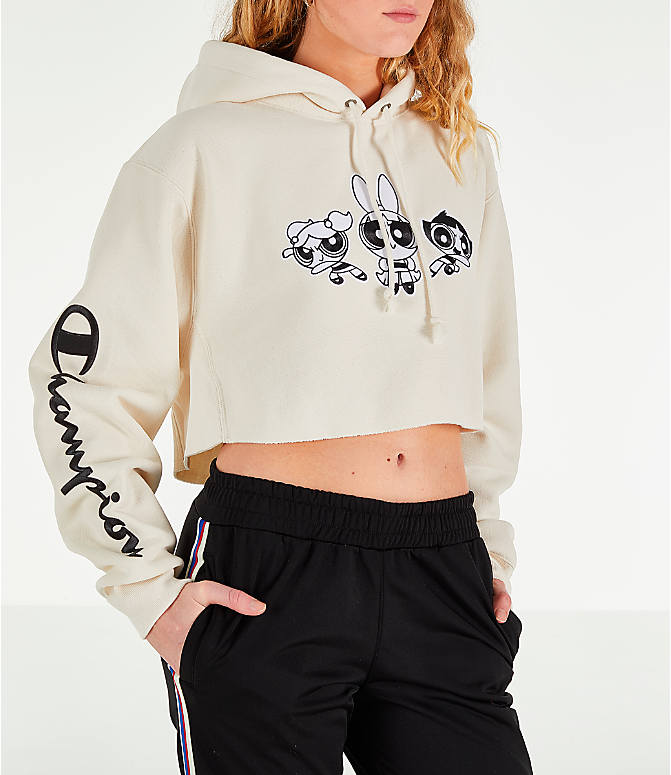 Front view of Women s Champion x The Powerpuff Girls Cropped Hoodie in Cream  Quartz f337f8935e