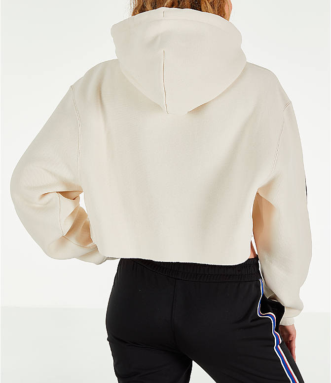 Back Right view of Women's Champion x The Powerpuff Girls Cropped Hoodie in Cream Quartz