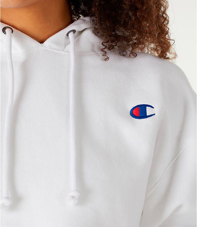 3d3fd877 Detail 1 view of Women's Champion Reverse Weave Crop Hoodie in White