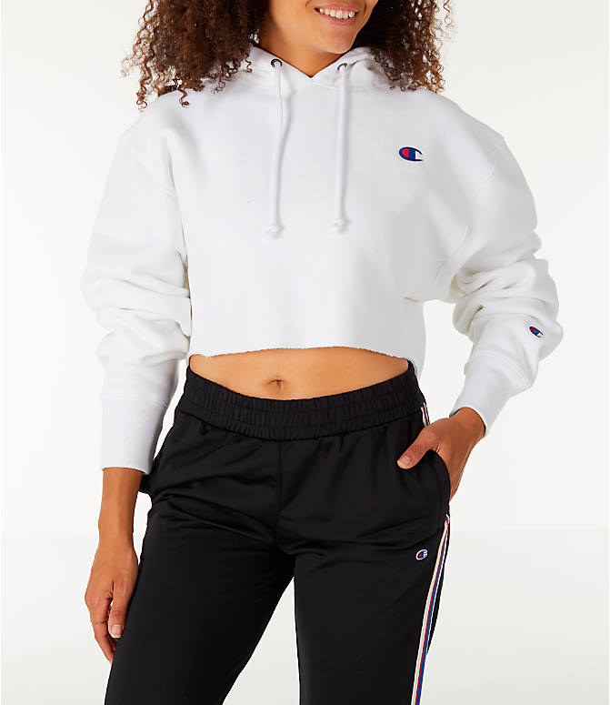 82a00f9d Front view of Women's Champion Reverse Weave Crop Hoodie in White