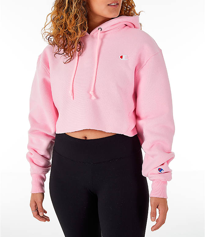Front view of Women's Champion Reverse Weave Crop Hoodie in Pink Candy