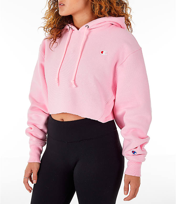 Front Three Quarter view of Women's Champion Reverse Weave Crop Hoodie in Pink Candy