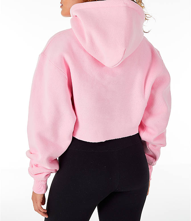 Back Left view of Women's Champion Reverse Weave Crop Hoodie in Pink Candy