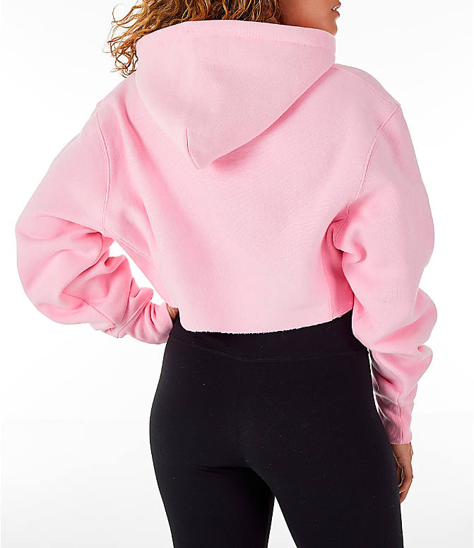 Back Right view of Women's Champion Reverse Weave Crop Hoodie in Pink Candy
