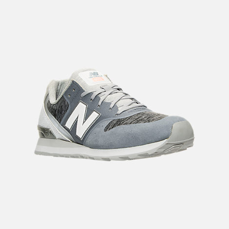 Three Quarter view of Women's New Balance 696 Re-Engineered Casual Shoes in Blue/White
