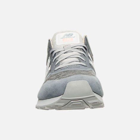 Front view of Women's New Balance 696 Re-Engineered Casual Shoes in Blue/White