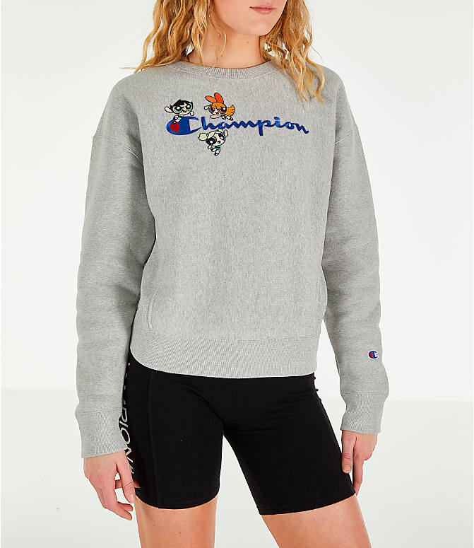 Front view of Women's Champion x The Powerpuff Girls Reverse Weave Crewneck Sweatshirt in Oxford Grey