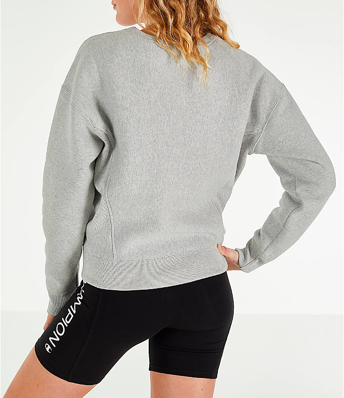 Back Left view of Women's Champion x The Powerpuff Girls Reverse Weave Crewneck Sweatshirt in Oxford Grey