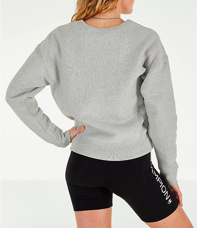 Back Right view of Women's Champion x The Powerpuff Girls Reverse Weave Crewneck Sweatshirt in Oxford Grey