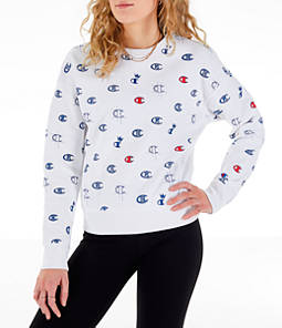 Women's Champion Reverse Weave Allover Print Crewneck Sweatshirt
