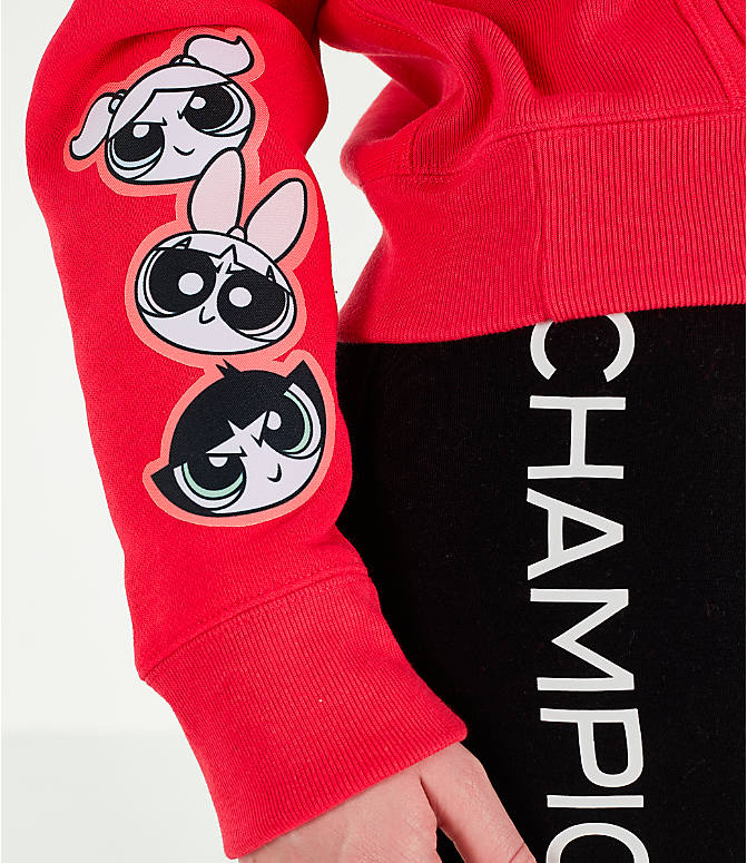 Detail 1 view of Women's Champion x The Powerpuff Girls Reverse Weave Pullover Hoodie in Red Spark