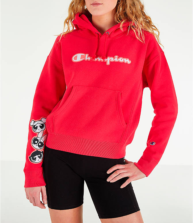 Front view of Women's Champion x The Powerpuff Girls Reverse Weave Pullover Hoodie in Red Spark