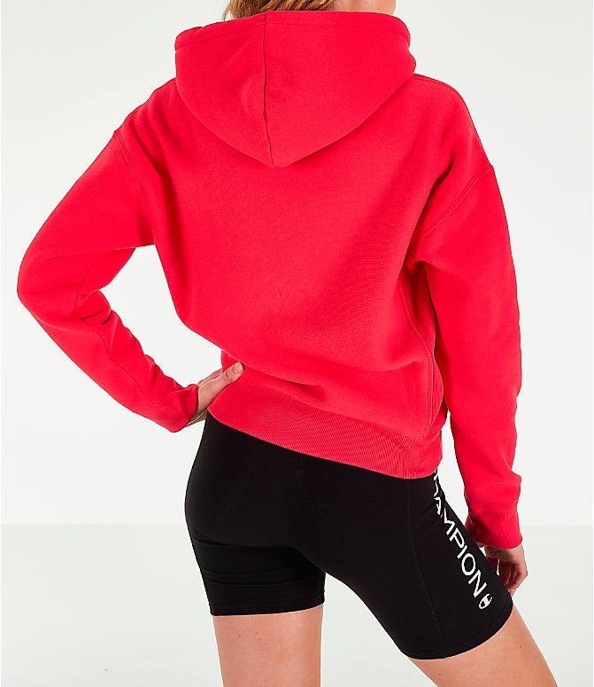 Back Right view of Women's Champion x The Powerpuff Girls Reverse Weave Pullover Hoodie in Red Spark