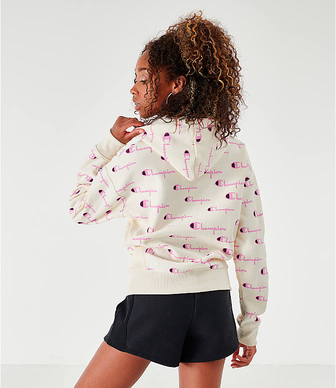 Back Right view of Women's Champion Reverse Weave Print Pullover Hoodie in Chalk/Pink
