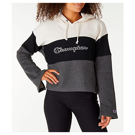 95a4176ea5ae Champion Colorblocked Bell-Sleeve Cropped Hoodie In White Grey ...