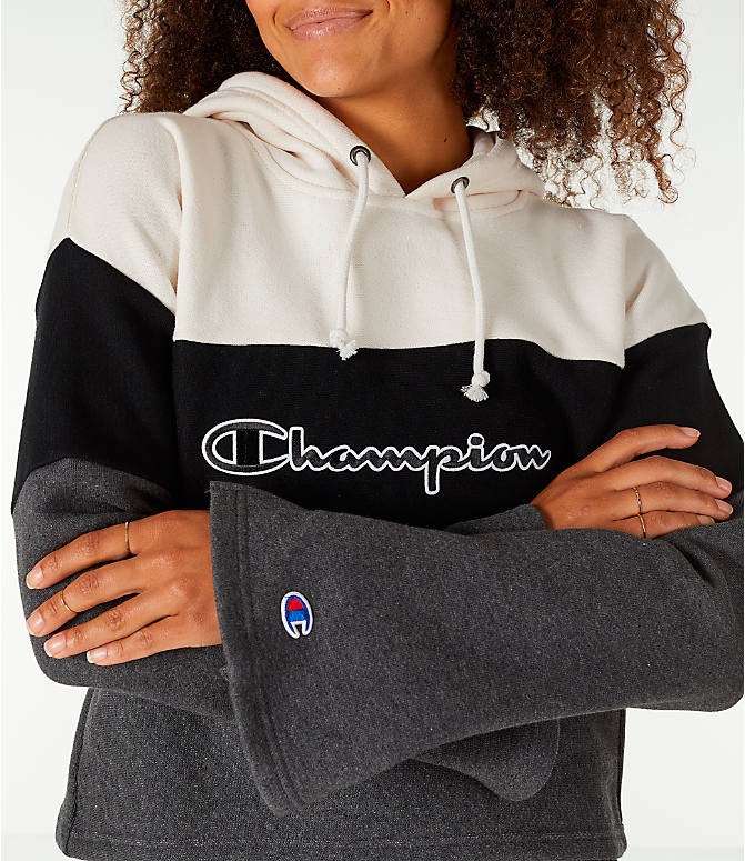 Detail 2 view of Women's Champion Reverse Weave Blocked Hoodie in Cream/Black/Grey