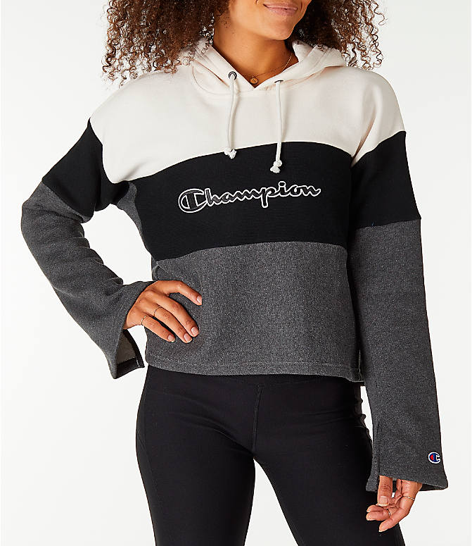 Front view of Women's Champion Reverse Weave Blocked Hoodie in Cream/Black/Grey