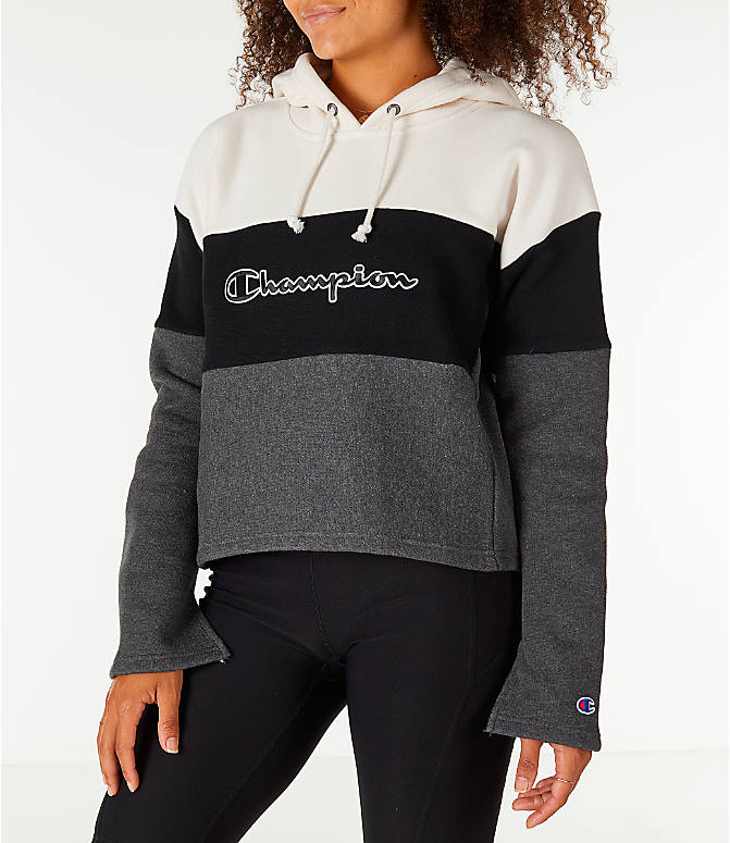 Front Three Quarter view of Women's Champion Reverse Weave Blocked Hoodie in Cream/Black/Grey