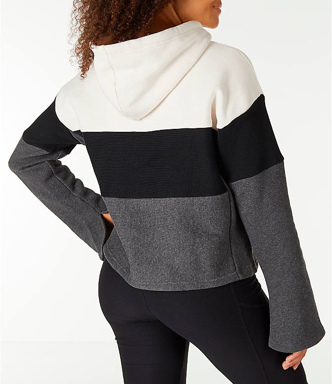 Back Right view of Women's Champion Reverse Weave Blocked Hoodie in Cream/Black/Grey
