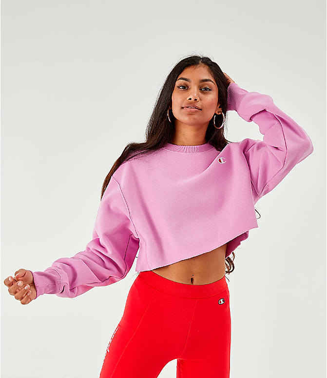 Back Right view of Women's Champion Reverse Weave Crop Crew Sweatshirt in Pink