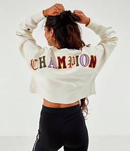 Women's Champion Reverse Weave Old English Crop Crew Sweatshirt