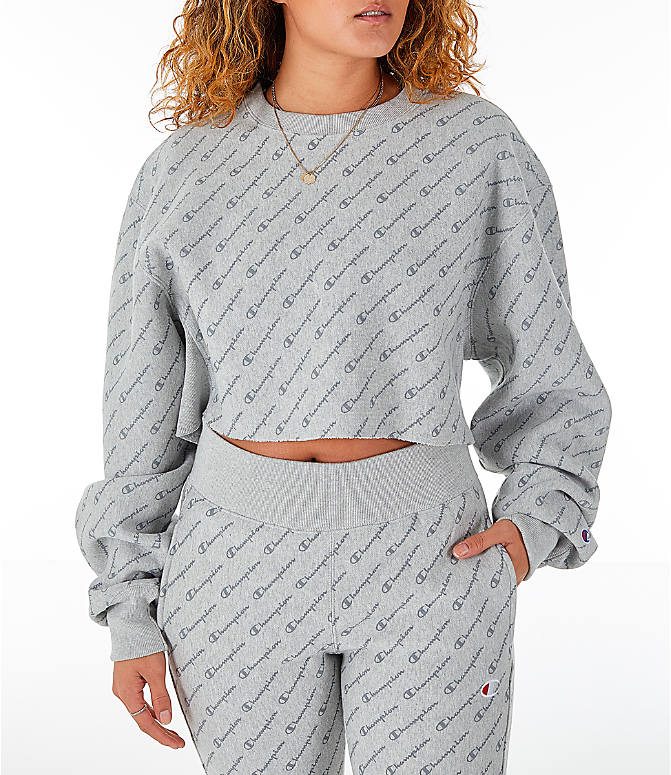 Front view of Women's Champion Reverse Weave Allover Print Cropped Crewneck Sweatshirt in Script Heather