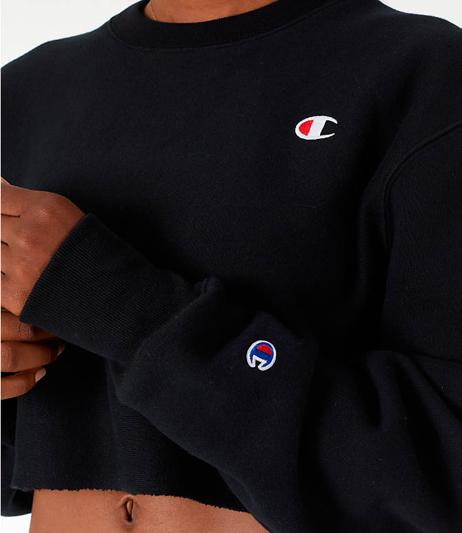 Detail 1 view of Women's Champion Reverse Weave Crop Crew Sweatshirt in Black