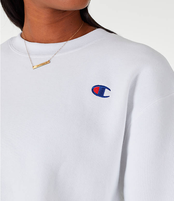 Detail 1 view of Women's Champion Reverse Weave Crop Crew Sweatshirt in White