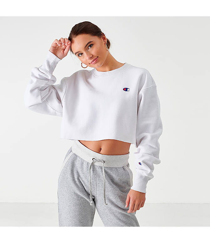 Front view of Women's Champion Reverse Weave Crop Crew Sweatshirt in White