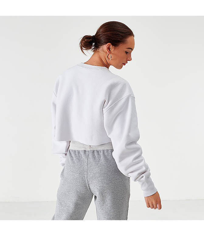 Back Left view of Women's Champion Reverse Weave Crop Crew Sweatshirt in White