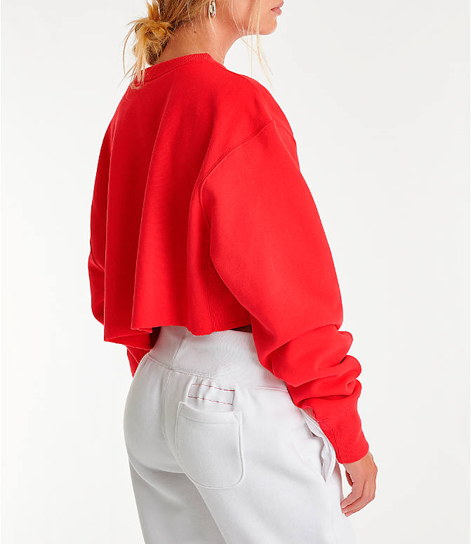 Back Right view of Women's Champion Reverse Weave Crop Crew Sweatshirt in Red