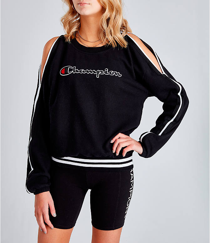 47757f69 Front view of Women's Champion Life Vintage Dye Fleece Cold Shoulder Top in  Black/White