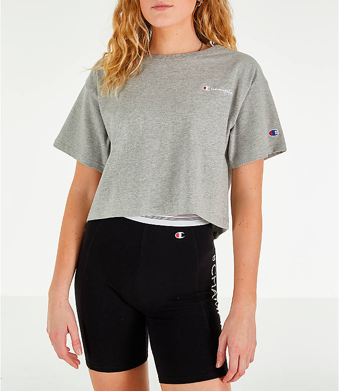 Front view of Women's Champion Crop T-Shirt in Oxford Grey