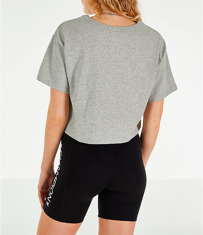 Back Left view of Women's Champion Crop T-Shirt in Oxford Grey