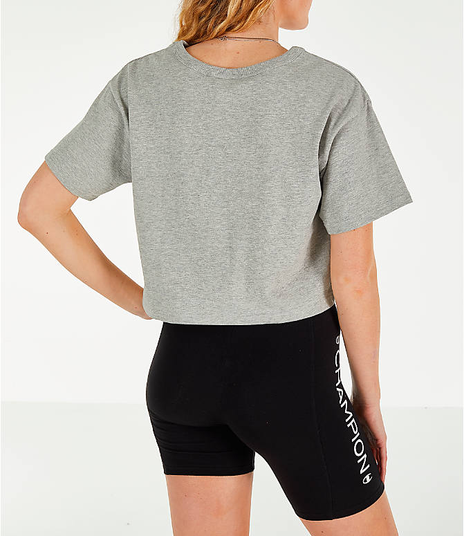 Back Right view of Women's Champion Crop T-Shirt in Oxford Grey