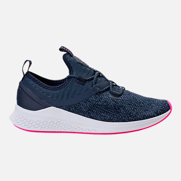 Right view of Women's New Balance Fresh Foam Lazr V1 Running Shoes in Vintage Indigo/Pigment/White/Pink Glo
