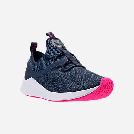 Three Quarter view of Women's New Balance Fresh Foam Lazr V1 Running Shoes in Vintage Indigo/Pigment/White/Pink Glo