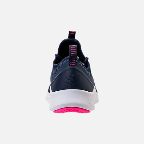 Back view of Women's New Balance Fresh Foam Lazr V1 Running Shoes in Vintage Indigo/Pigment/White/Pink Glo