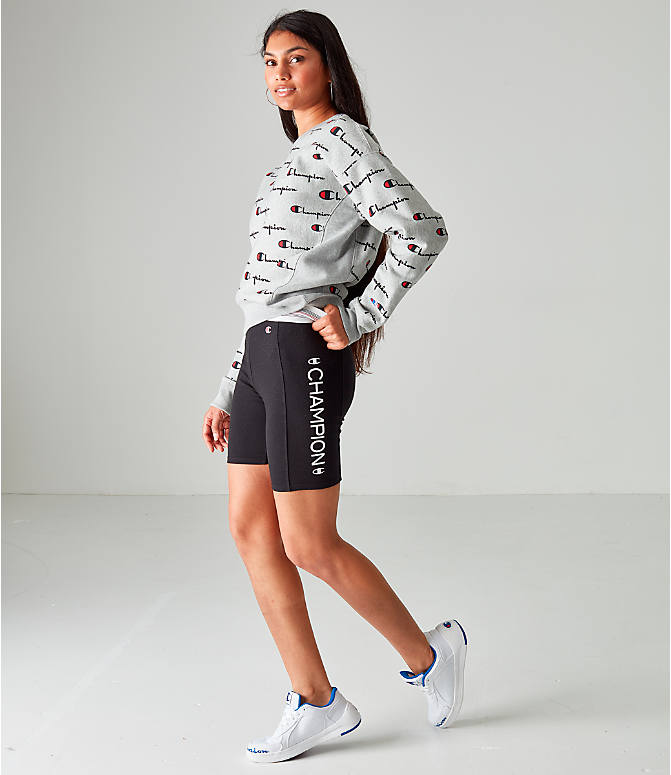 Front Three Quarter view of Women's Champion Power Cotton Bike Shorts in Black
