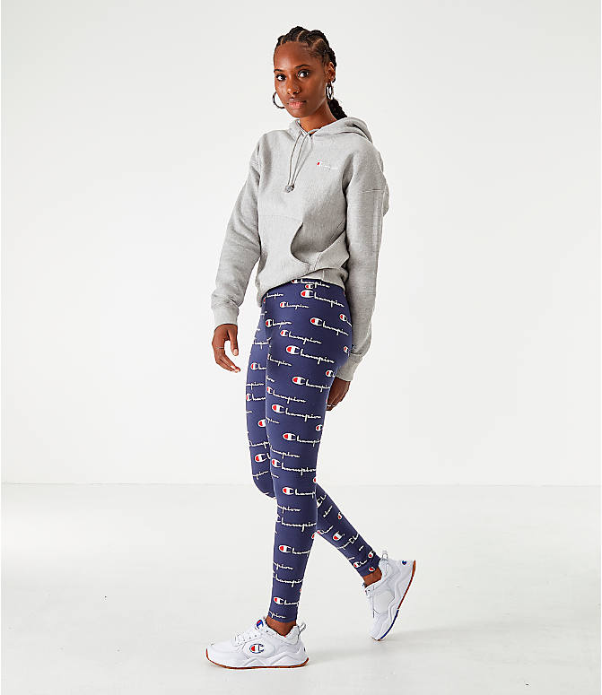 Front Three Quarter view of Women's Champion LIFE Everyday Allover Print Leggings in Navy