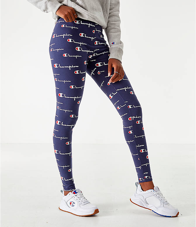 Back Left view of Women's Champion LIFE Everyday Allover Print Leggings in Navy