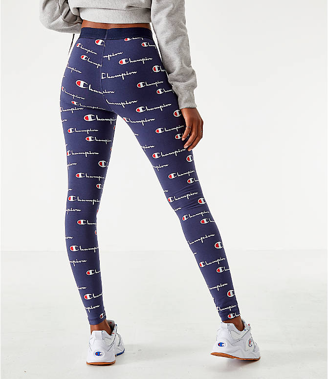 Back Right view of Women's Champion LIFE Everyday Allover Print Leggings in Navy