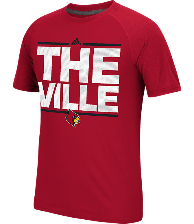 Front view of Men's adidas Louisville Cardinals College Dassler City T-Shirt in Red